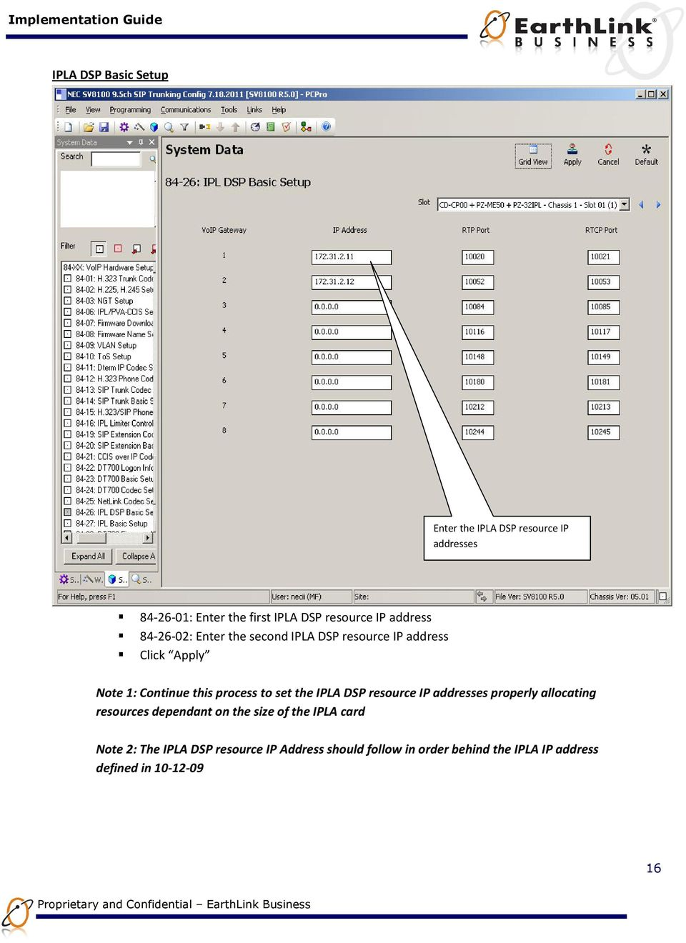 set the IPLA DSP resource IP addresses properly allocating resources dependant on the size of the IPLA card