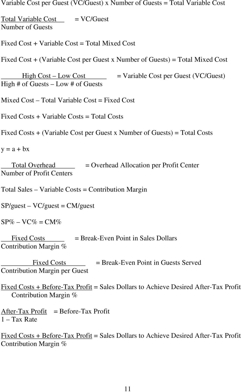 Variable Costs = Total Costs Fixed Costs + (Variable Cost per Guest x Number of Guests) = Total Costs y = a + bx Total Overhead Number of Profit Centers = Overhead Allocation per Profit Center Total