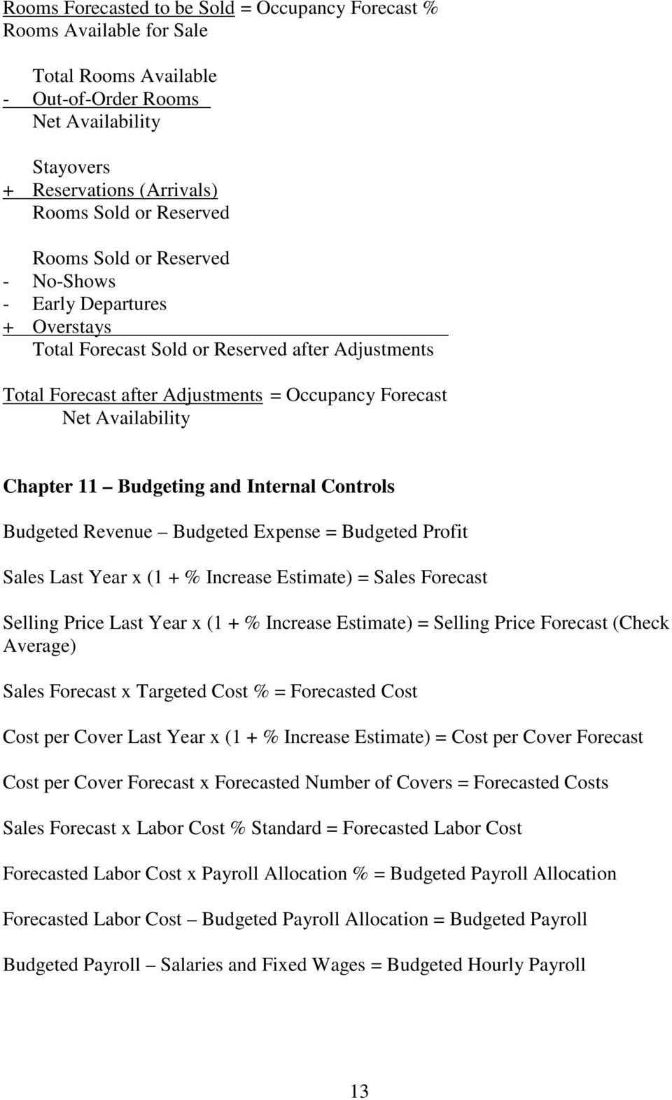 Budgeting and Internal Controls Budgeted Revenue Budgeted Expense = Budgeted Profit Sales Last Year x (1 + % Increase Estimate) = Sales Forecast Selling Price Last Year x (1 + % Increase Estimate) =