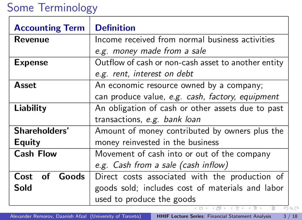 g. Cash from a sale (cash inflow) Direct costs associated with the production of goods sold; includes cost of materials and labor used to produce the goods Alexander Remorov, Daanish Afzal
