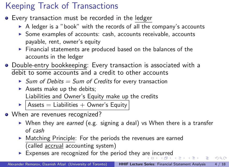some accounts and a credit to other accounts Sum of Debits = Sum of Credits for every transaction Assets make up the debits; Liabilities and Owner s Equity make up the credits Assets = Liabilities +