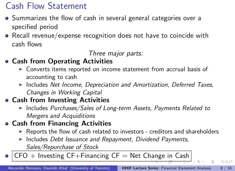 Working Capital Cash from Investing Activities Includes Purchases/Sales of Long-term Assets, Payments Related to Mergers and Acquiditions Cash from Financing Activities Reports the flow of cash