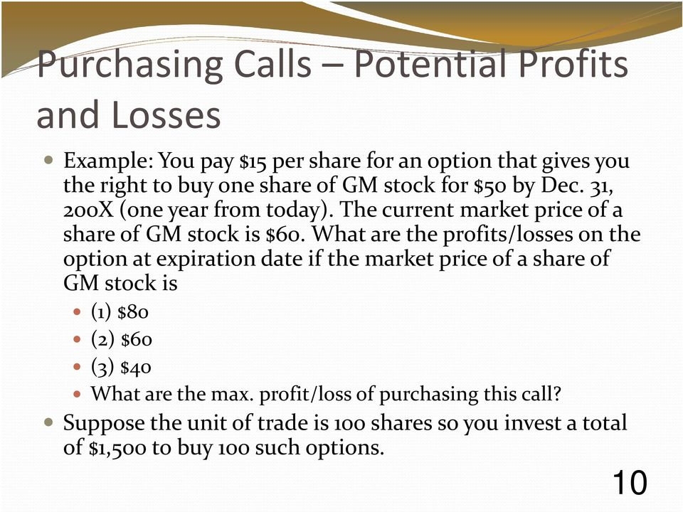 What are the profits/losses on the option at expiration date if the market price of a share of GM stock is (1) $80 (2) $60 (3) $40