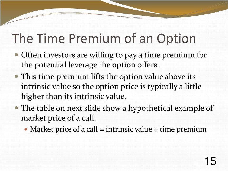 This time premium lifts the option value above its intrinsic value so the option price is typically a