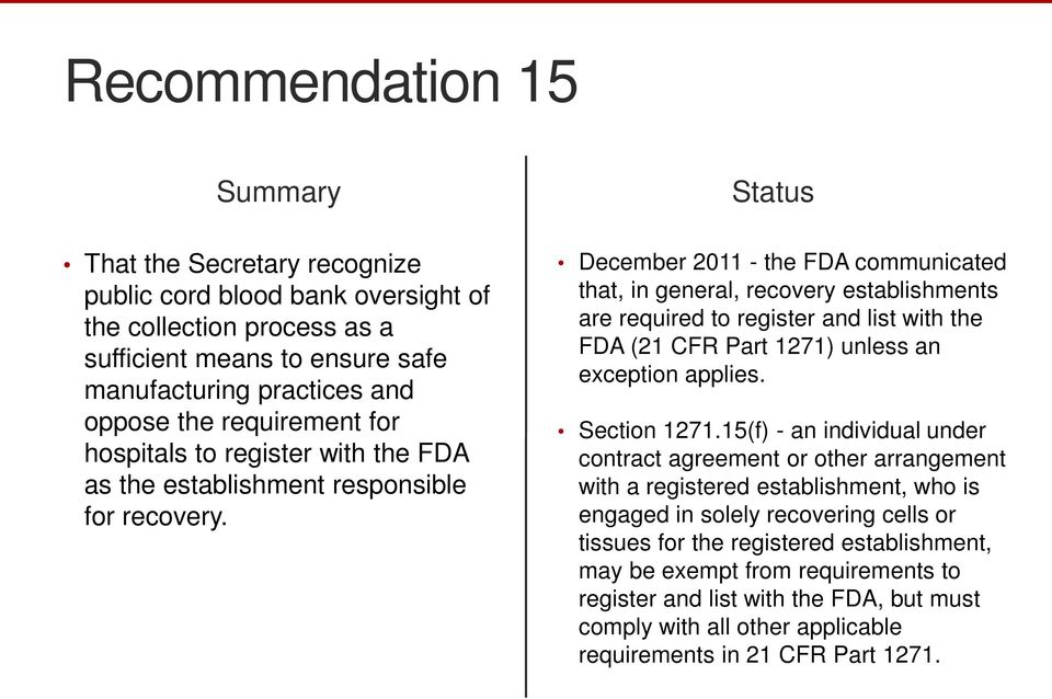 December 2011 - the FDA communicated that, in general, recovery establishments are required to register and list with the FDA (21 CFR Part 1271) unless an exception applies. Section 1271.