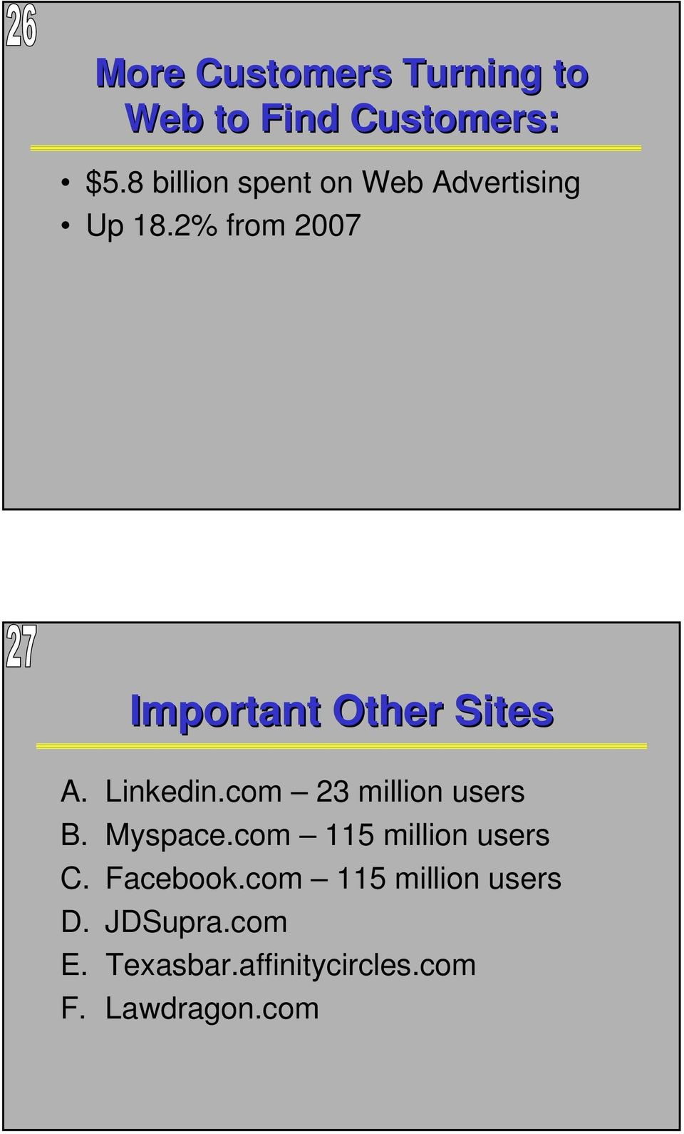 2% from 2007 Important Other Sites A. Linkedin.com 23 million users B.
