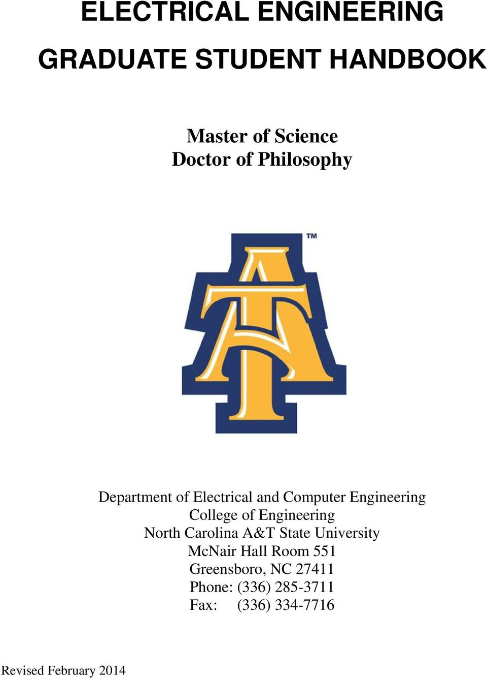 Engineering North Carolina A&T State University McNair Hall Room 551