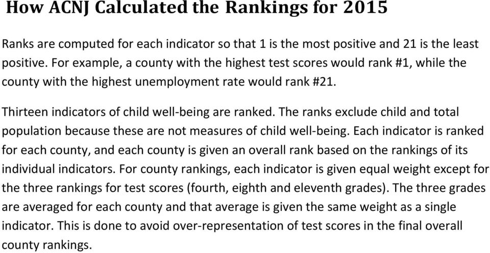 The ranks exclude child and total population because these are not measures of child well being.