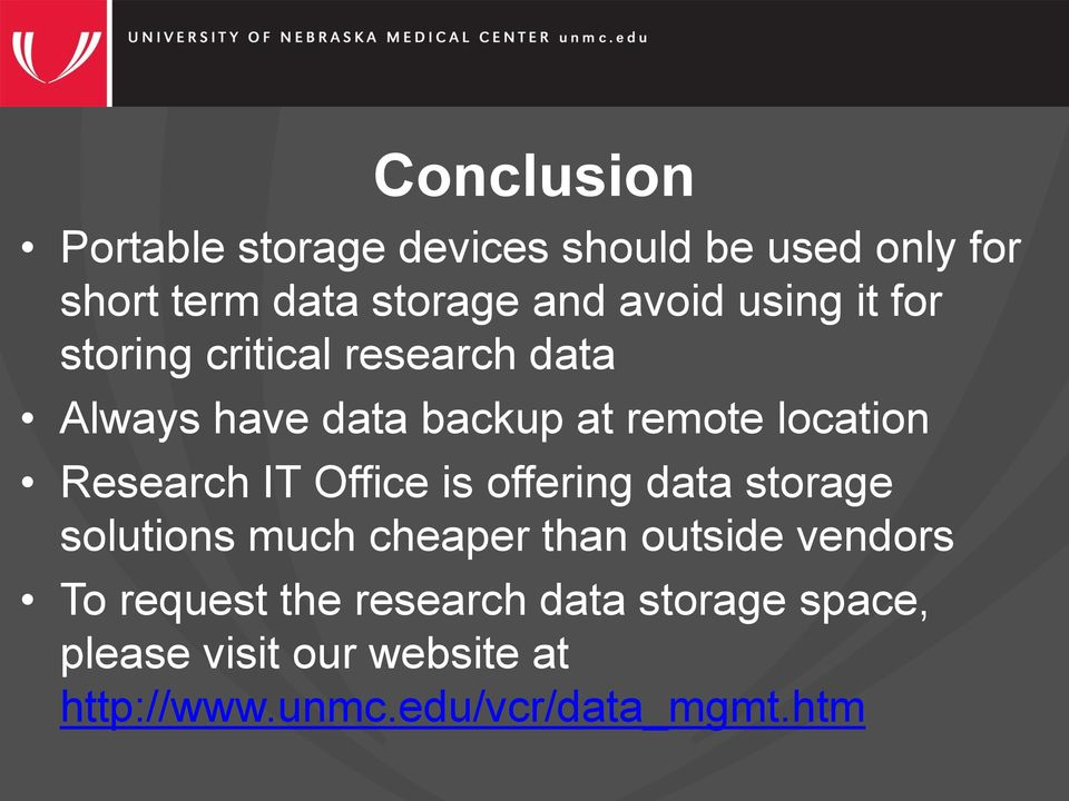 Research IT Office is offering data storage solutions much cheaper than outside vendors To