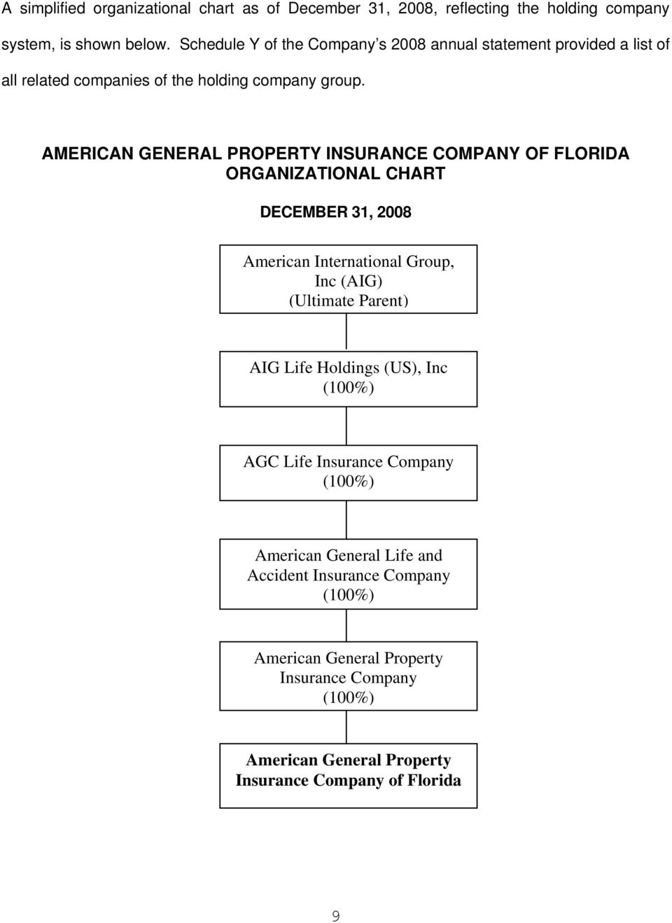 AMERICAN GENERAL PROPERTY INSURANCE COMPANY OF FLORIDA ORGANIZATIONAL CHART DECEMBER 31, 2008 American International Group, Inc (AIG) (Ultimate Parent) AIG