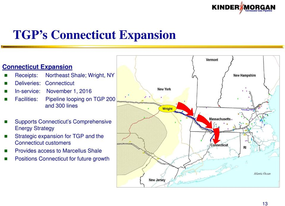300 lines Wright Supports Connecticut s Comprehensive Energy Strategy Strategic expansion for TGP