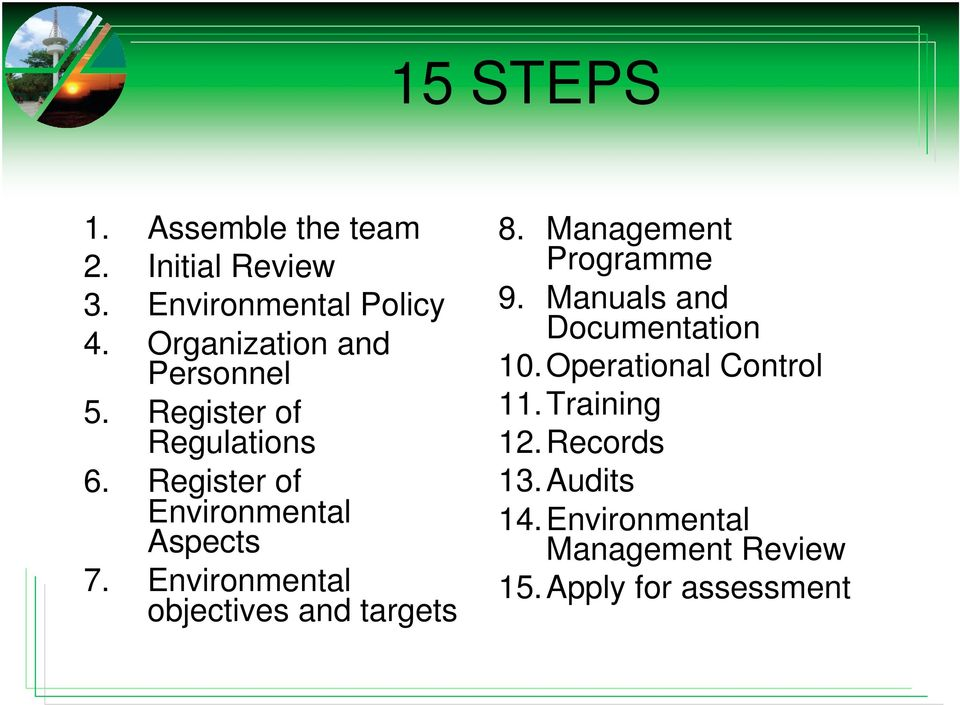 Environmental objectives and targets 8. Management Programme 9. Manuals and Documentation 10.