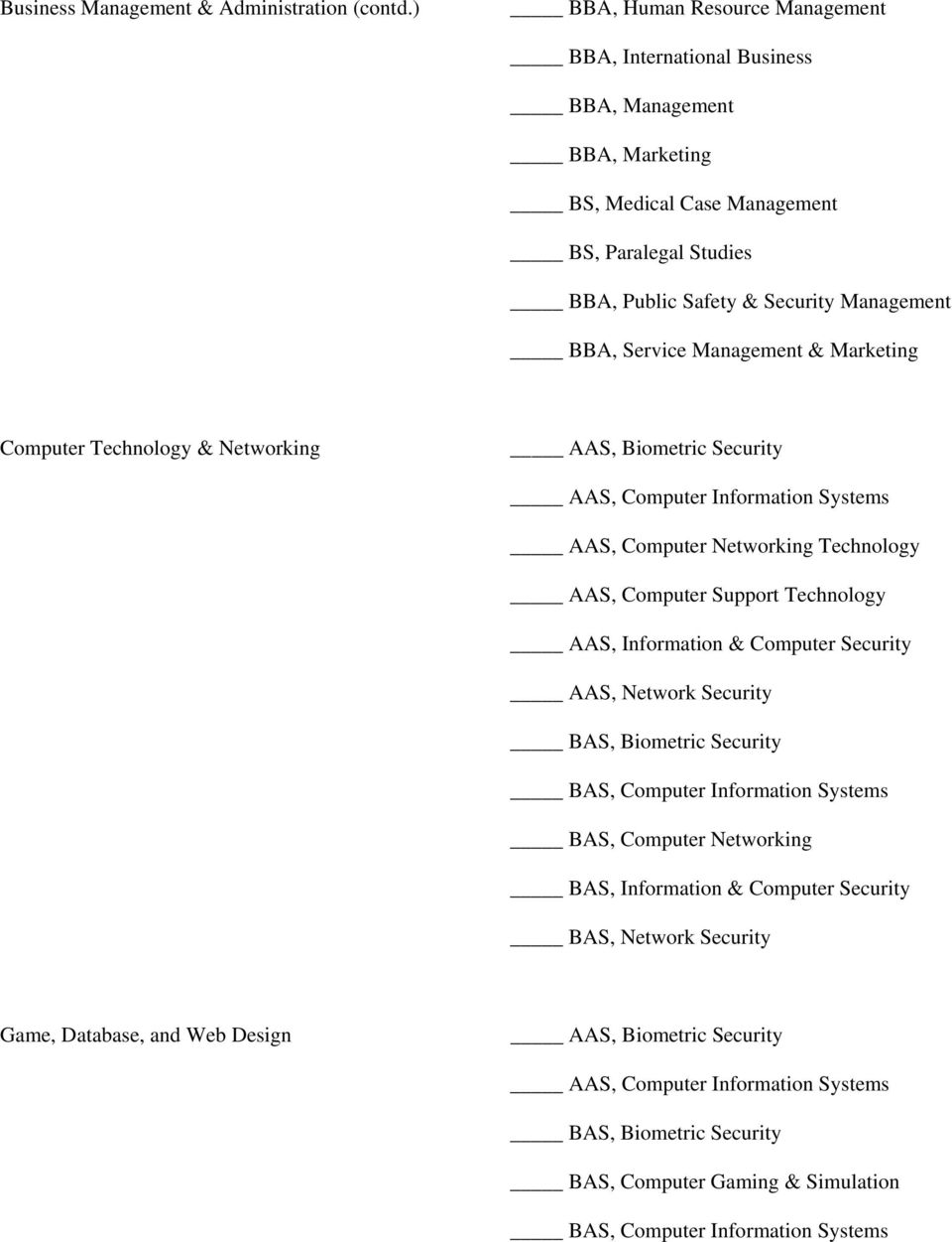 Computer Technology & Networking AAS, Biometric Security AAS, Computer Information Systems AAS, Computer Networking Technology AAS, Computer Support Technology AAS, Information & Computer
