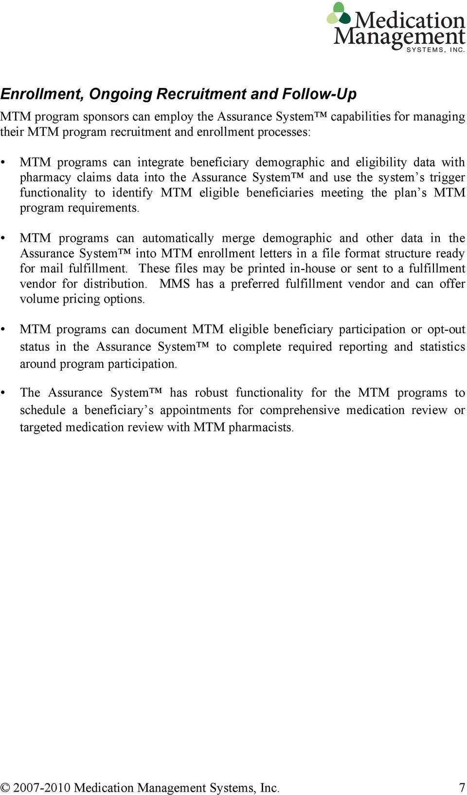 the plan s MTM program requirements.