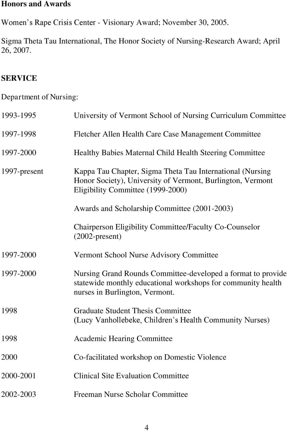 Child Health Steering Committee 1997-present Kappa Tau Chapter, Sigma Theta Tau International (Nursing Honor Society), University of Vermont, Burlington, Vermont Eligibility Committee (1999-2000)