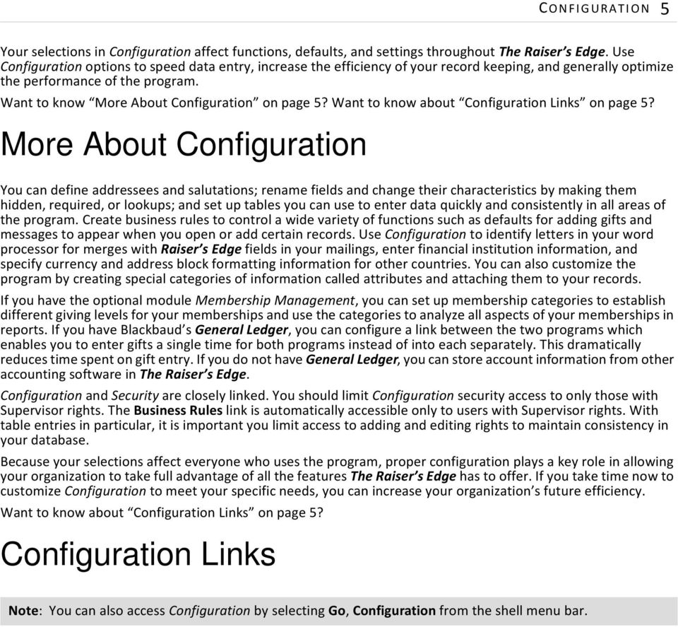 Want to know about Configuration Links on page 5?