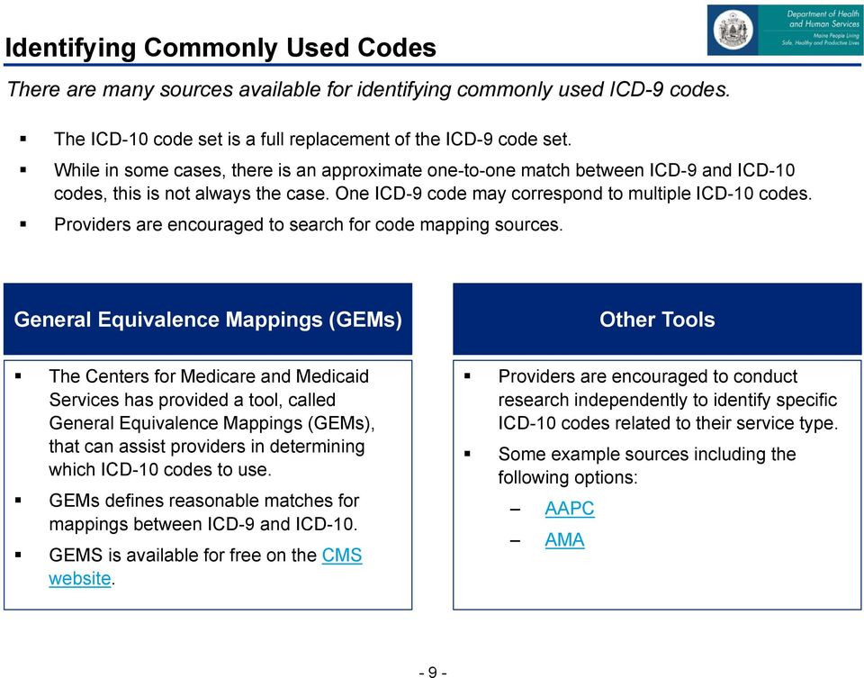 Providers are encouraged to search for code mapping sources.