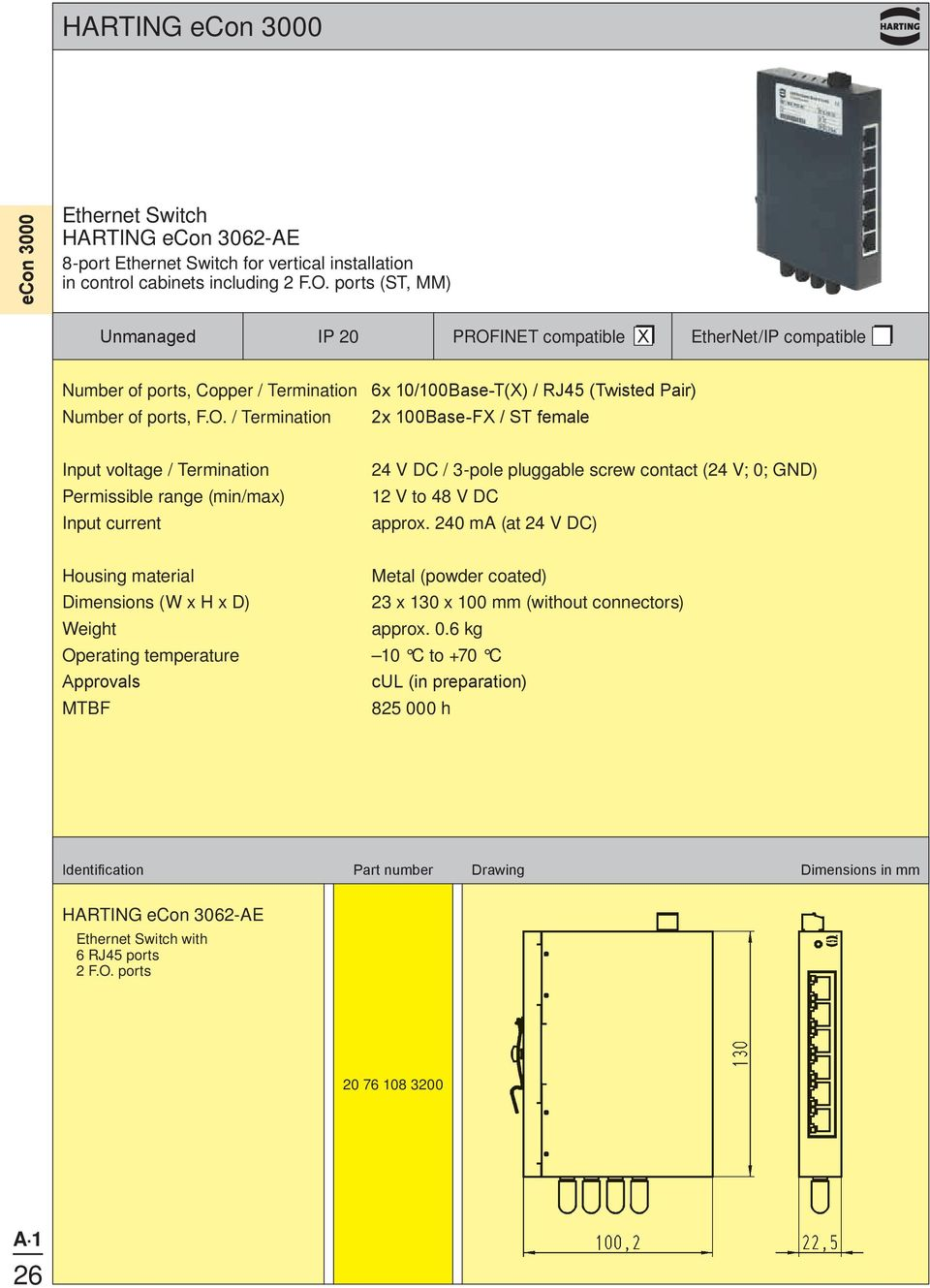 ports (ST, MM) IP 20 Number of ports, Copper / Termination 6x 10/100Base-T(X) /