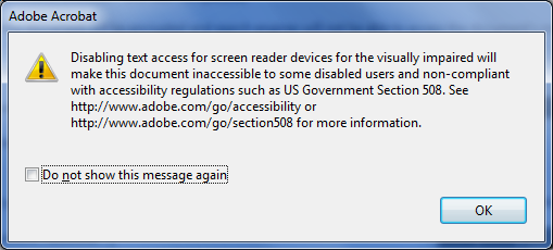 as long as screen reader access is enabled.