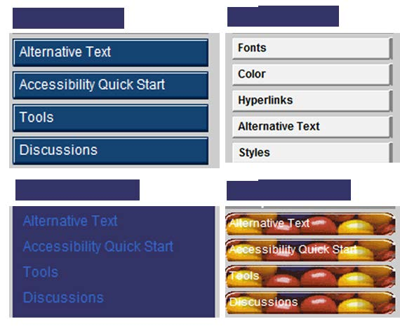 Accessibility Checklist Examples Course Design Color Contrast Course theme or template provides adequate color