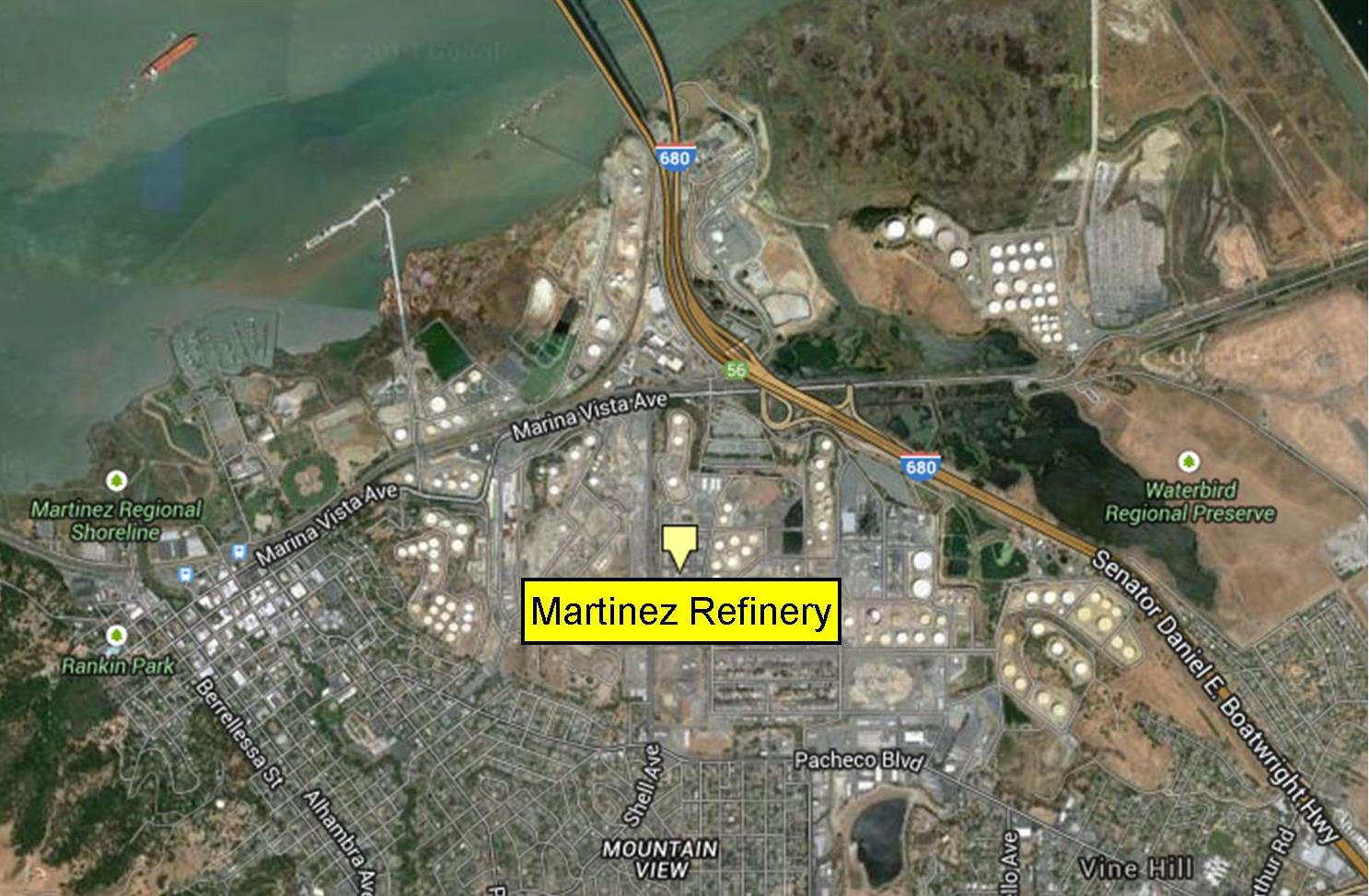 3. Shell Oil Martinez Refinery The Martinez Refinery is the second largest refinery in the Bay Area, after Chevron, and was the first American refinery built by the Shell Oil Company, in 1915.