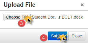Upload a file 1. Place the cursor where you would like the file to be linked. 2. Click the Upload File button 3.