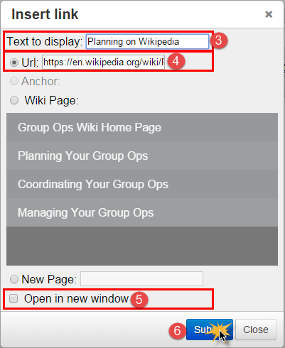 Add a link to a web page You can add links to web pages in the editor. To add a link to a web page, 1. Place your cursor where you would the link to be 2. Click the Insert/Edit Link button 3.