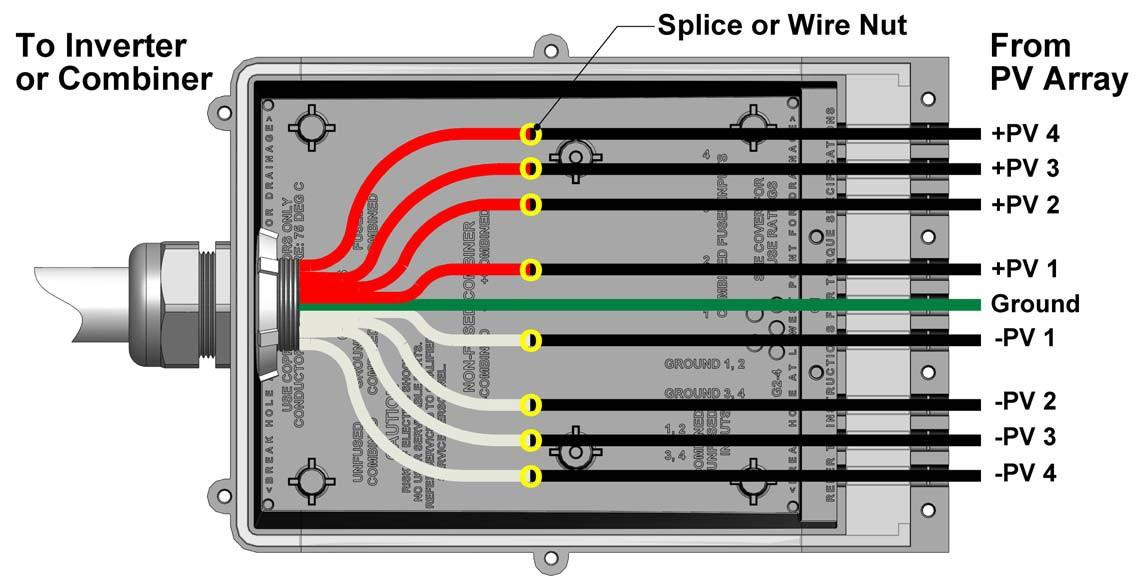 Pass-through - Pass-through with splices/wire nuts (1-4 strings) Figure 8: Wiring Diagram