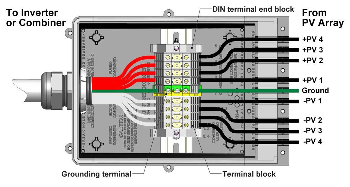 - Pass-through with DIN rail-mount terminals (1-4 strings) Figure 10: Wiring Diagram Pass-Through with DIN Rail-Mount Terminals Figure 11: Wiring Layout Pass-Through with DIN Rail-Mount Terminals