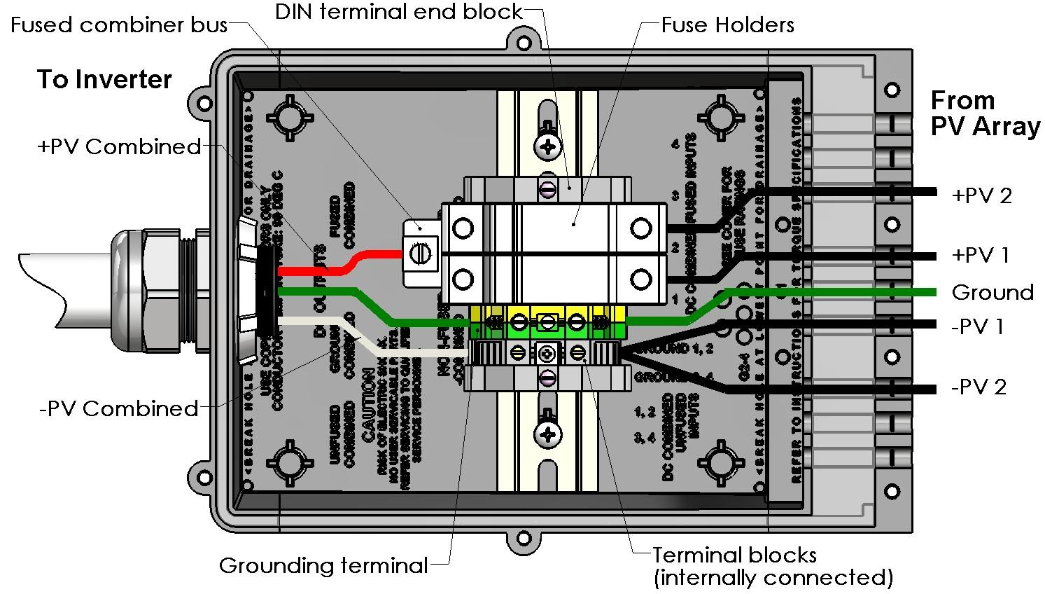 - Two-string fused combiner with DIN rail-mount components, negative ground Figure 18: Wiring Diagram Two-String Fused Combiner