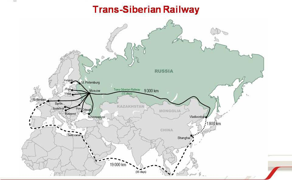 13 Arctic Bridge Puzzle: the pieces - Connects Moscow to Vladivostok (Pacific) - Towards China, connects with Trans Manchurian and China Railways - 8+