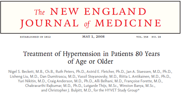3845 patients 80 years SBP >160 mmhg Indapamide sustained release 1.5 mg and perindopril 2-4 mg or placebo.