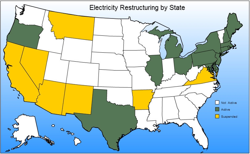 Restructured Retail Electricity Markets Only 15 states fully restructured their retail electricity markets, providing retail access to competitive suppliers; 7-9 suspended retail