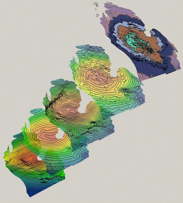 Isopach and structural contour maps on selected