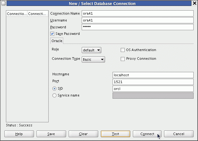 Creating a Database Connection Creating a Database Connection You must have at least one database connection to use SQL Developer. To create a database connection, perform the following steps: 1.