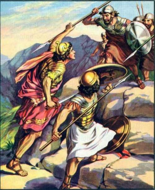 jonathan's brave fight 1 samuel 14:1-23 One day, after many of Saul's soldiers had left him, Jonathan and his bodyguard went toward the Philistine camp. It was up on a rocky cliff.