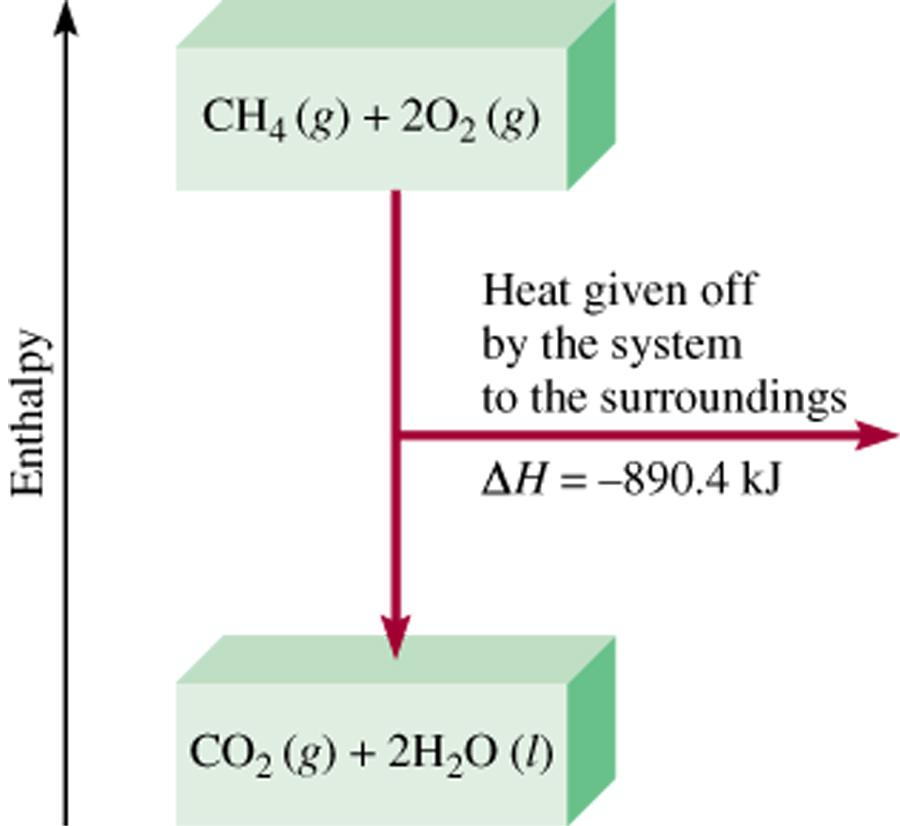 Thermochemical Equations Is DH negative or positive? System gives off heat Exothermic DH < 0 890.