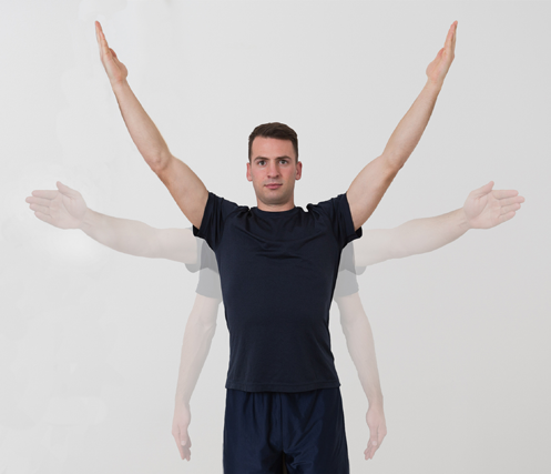 3. Shoulder External Rotation (Elbow In) Starting position: Attach an elastic band to a safe anchor point at about bellybutton height.