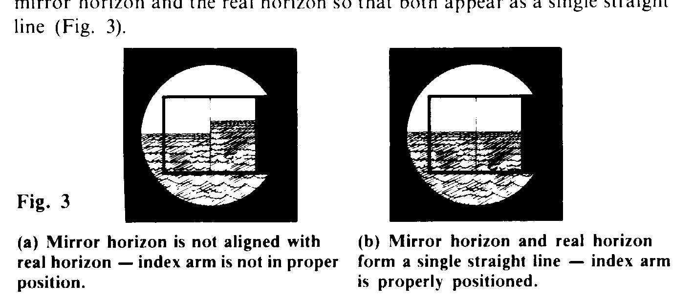 reads zero. First, adjust the index mirror for side error by making it perpendicular to the frame. Holding the sextant in your right hand, raise the instrument to your eye.