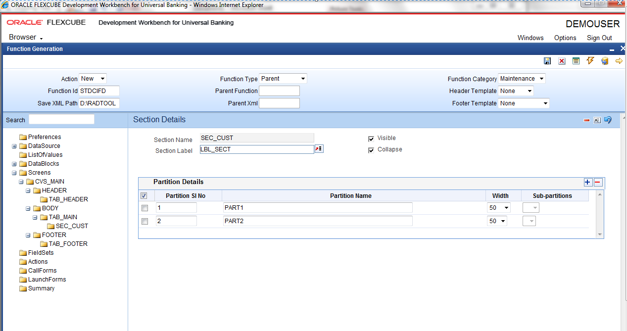 Oracle forms data blocks on different sources - Fig 12 14 Defining Partitions For The Section 4