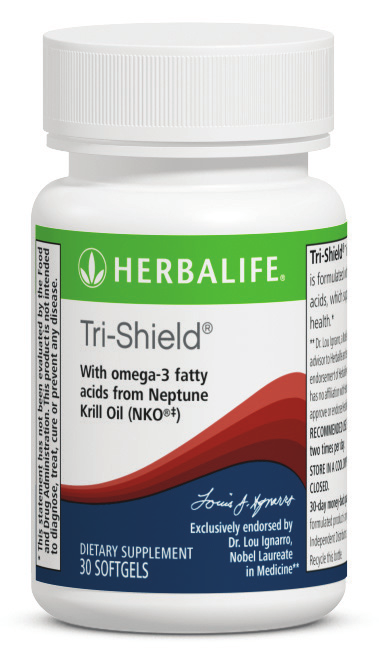Tri-Shield Tri-Shield builds on the benefits of essential fatty acids and works in conjunction with Herbalifeline to provide fat-soluble antioxidant protection for the cardiovascular system and all