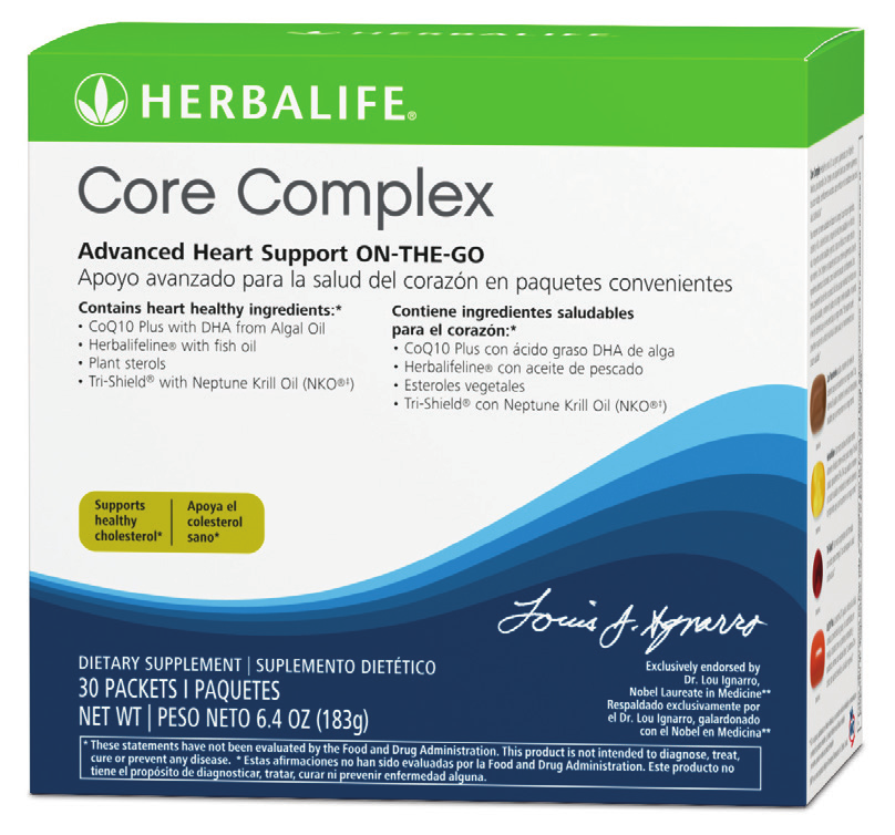 Core Complex Core Complex is a combination pack that targets four key indicators of cardiovascular health: cholesterol, homocysteine, triglycerides and oxidative stress.