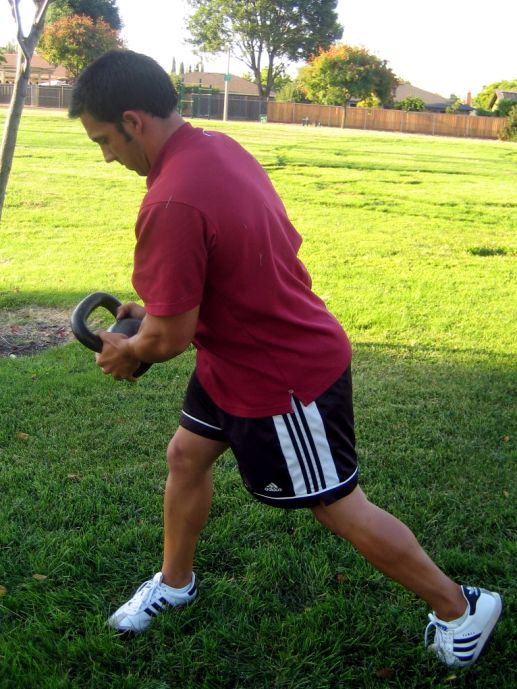 Get up sit up (1 and 2 KBs) Wood chop o Stand with the ball of the kettlebell in your hands. o Take the bell back behind your head rotating through your hips in that direction.