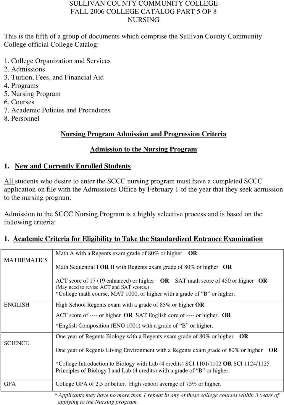 Personnel Nursing Program Admission and Progression Criteria 1.