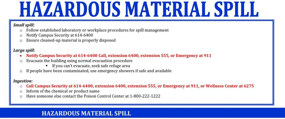 evacuate, seek safe refuge area o If people have been contaminated, use emergency showers if safe and available Ingestion: o Call Campus Security at 614-6400, extension 6400,