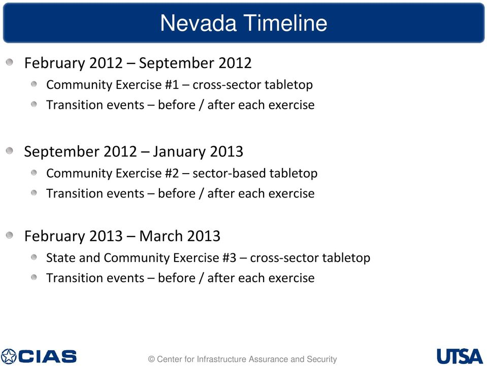#2 sector-based tabletop Transition events before / after each exercise February 2013 March