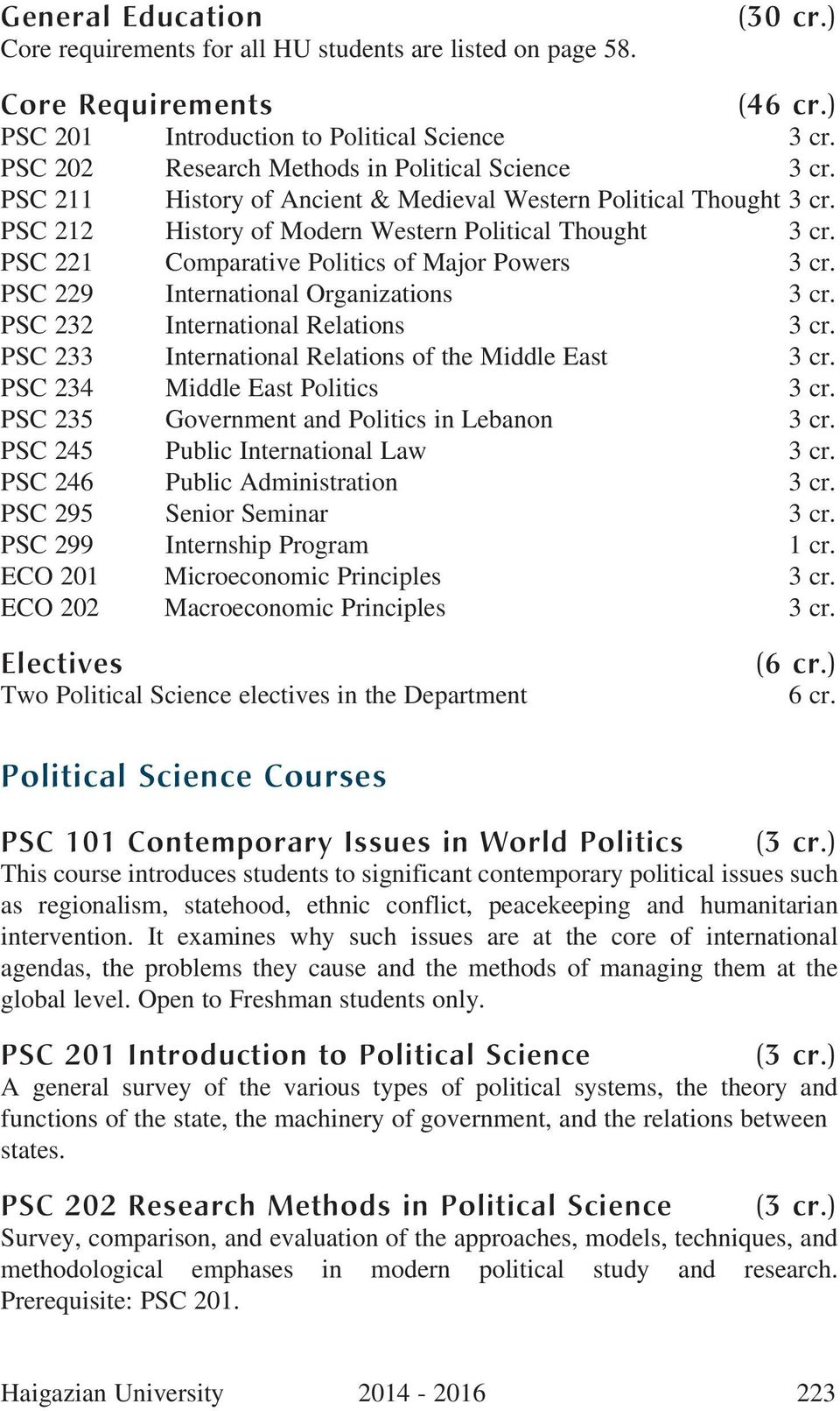 PSC 221 Comparative Politics of Major Powers 3 cr. PSC 229 International Organizations 3 cr. PSC 232 International Relations 3 cr. PSC 233 International Relations of the Middle East 3 cr.