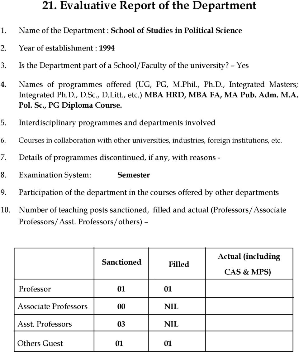 ) MBA HRD, MBA FA, MA Pub. Adm. M.A. Pol. Sc., PG Diploma Course. 5. Interdisciplinary programmes and departments involved 6.