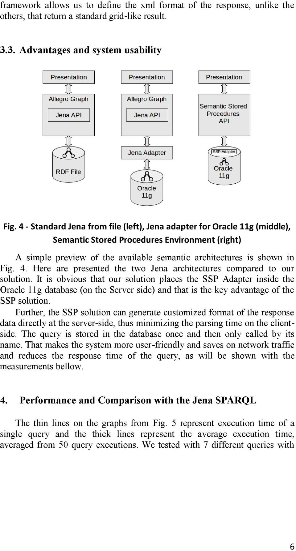 Here are presented the two Jena architectures compared to our solution.