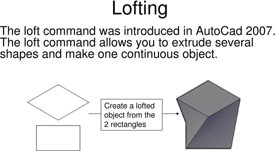 The loft command allows you to extrude several